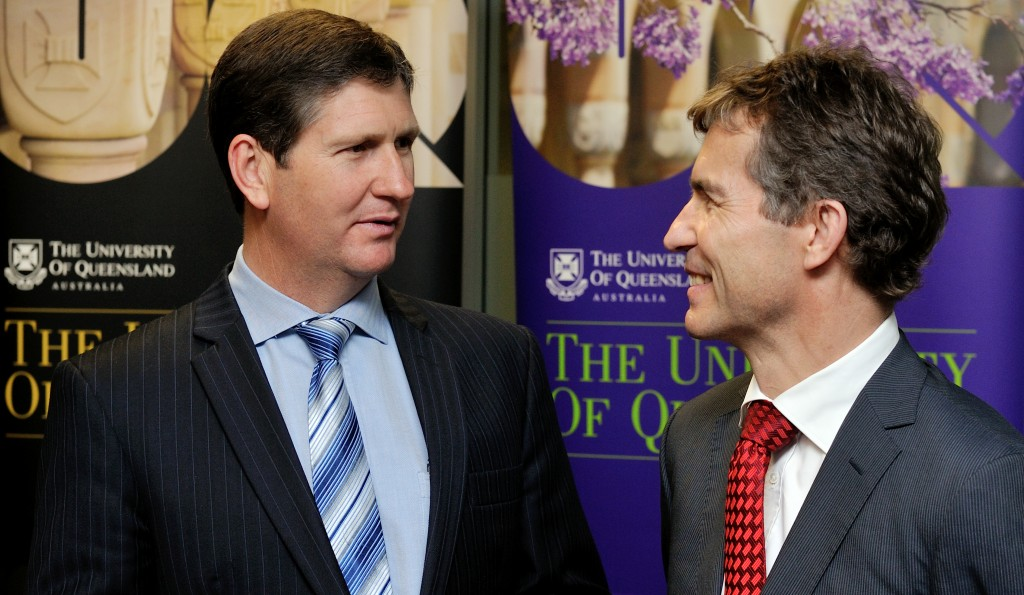 Minister for Health The Honourable Lawrence Springborg MP and Vice-Chancellor UQ Professor Peter Høj.  UQ host and support equipment as part of the Queensland Health eduroam service